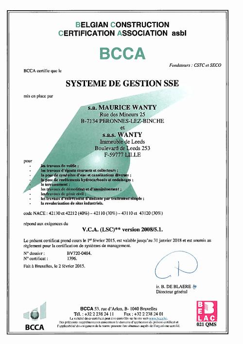 certificat VCA2 WANTY FR 2015